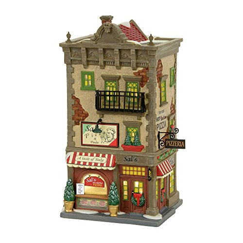 Department 56 Christmas in the City Sal's Pizza and Pasta Lit Building Village, Multicolor