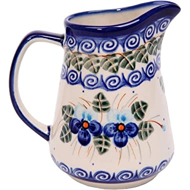 Polish Pottery Ceramika Boleslawiec,  0205/162, Pitcher Jacek 1, 1 Cup, Royal Blue Patterns with Blue Pansy Flower Motif