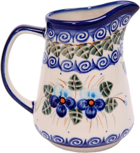 - Polish Pottery Ceramika Boleslawiec, 0205/162, Pitcher Jacek 1, 1 Cup, Royal Blue Patterns with Blue Pansy Flower Motif