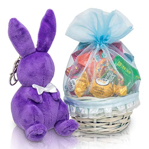 Bunny James Mini Easter Basket: Healthy Easter Candy Treats & Chocolate Gift Basket With Easter Bunny For Kids & Adults