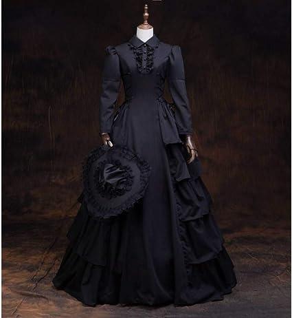 QAQBDBCKL schwarzes Rüschenkleid mit Hut Gothic langes