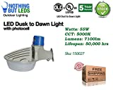 LED outdoor Dust to Dawn lights, Barn light, Garage light with photocell 55W, 7100lm, 5000K, UL & DLC certified, 5 years warranty