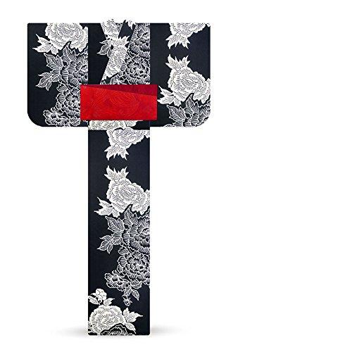 個人的な急流どういたしましてそしてゆめ レディース 浴衣 黒 白牡丹6SY-23 日本製