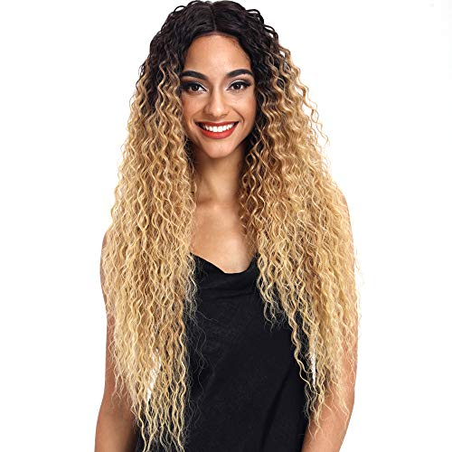 Joedir Lace Front Wigs Ombre Blonde 28'' Long Small Curly Wavy Synthetic Wigs For Black Women 130% Density Wigs(TAT6/27/24E) -