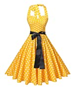 V Fashion Women's Vintage 1950s Halter Neck Polka Dot Audrey Hepburn Dress 50s Retro Swing Dresses with Belt