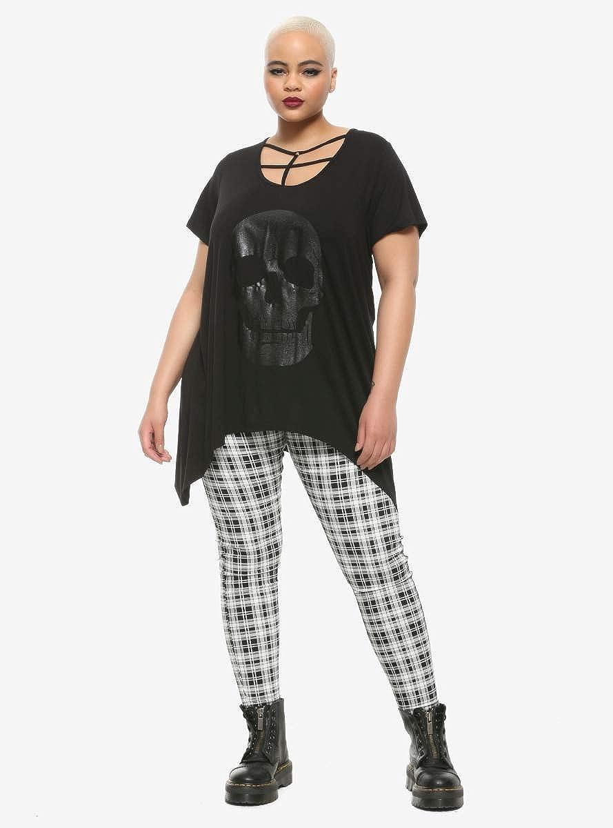 Glitter Skull /& Strappy Front Shark Bite Girls Top Plus Size