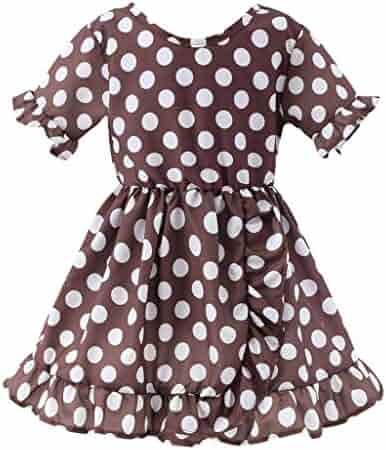 7bac18910 Dinlong Summer Toddler Baby Kid Girl Short-Sleeved Ruffles Ruched Plaid  Wavy Dot Skirt Casual