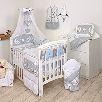 10 tlg Bett 140x70cm Babybettwäsche Set 135x100cm Nestchen Himmel Bettbezug f
