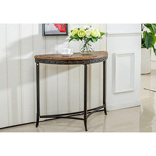 - Sierra, Metal and Wood, Rustic Industrial, Half-Moon Shape, Console/Entryway/ Hallway Table in Distressed Pine