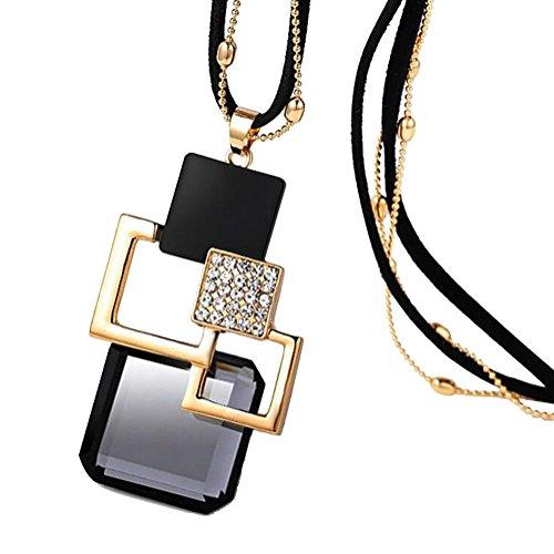 Modogirl Long deep Black cords Sweater Vintage Flower Pendant Necklace for Women and (Vintage Black & Gold Necklace)
