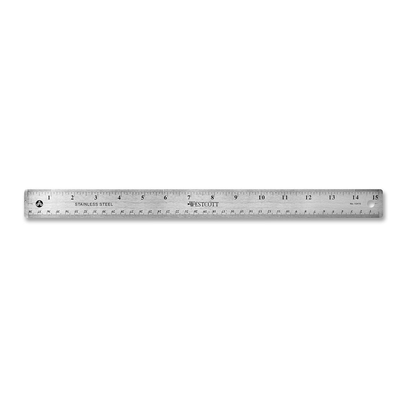 Westcott 10416 15'' Stainless Steel Office Ruler With Non Slip Cork Base