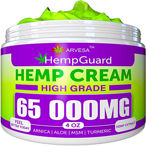 Hemp Pain Relief Cream - 65 000 MG - Made in USA - 4OZ - Relieves Muscle, Joint Pain - Lower Back Pain - Inflammation - Hemp Oil