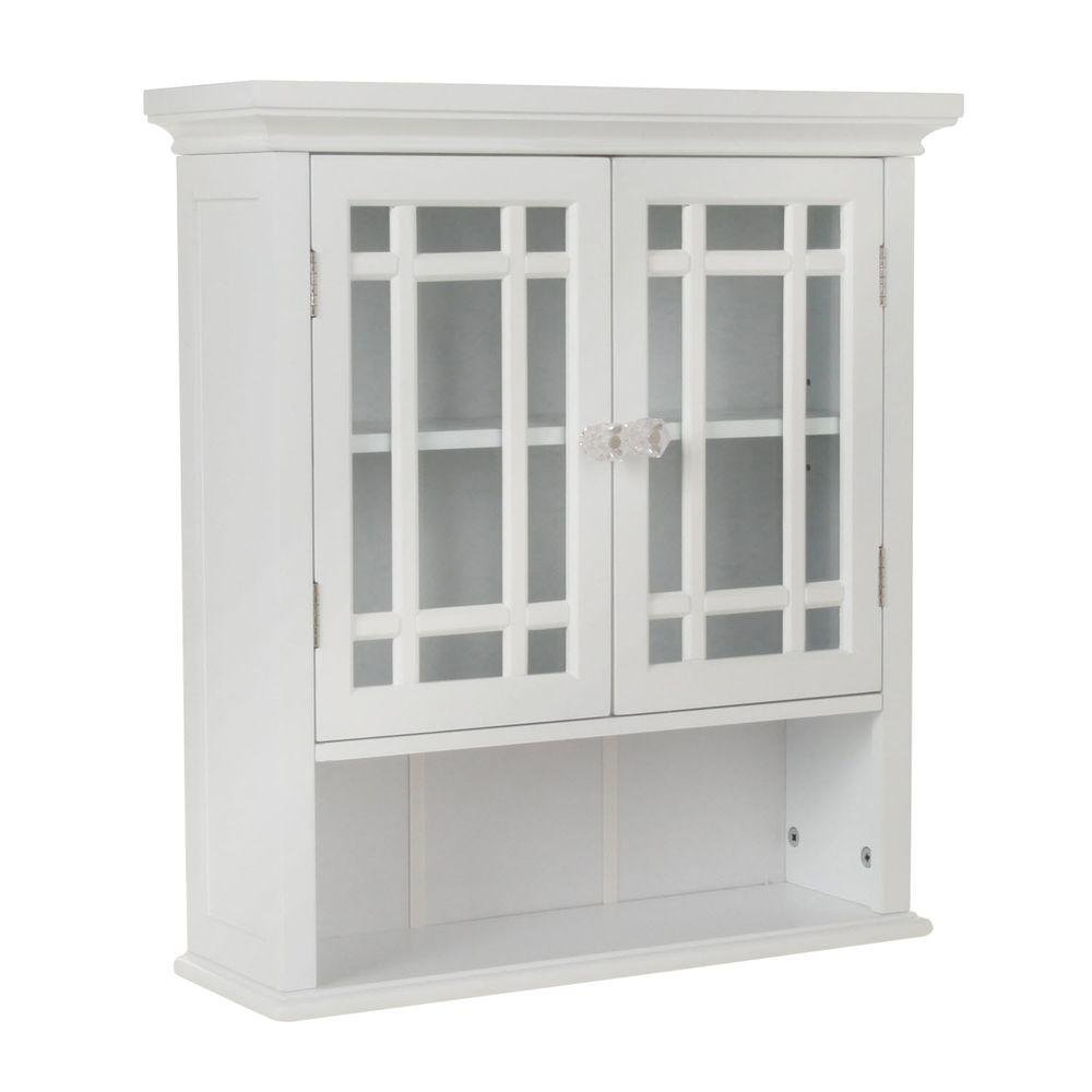 Elegant Home Fashions Albion 22 in. W x 24 in. H x 7 in. D Bathroom Storage Wall Cabinet with 2 Glass Doors in White HD17473