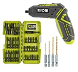 Ryobi HP44L QuickTurn 4-Volt Lithium-Ion 1/4 in. Cordless Screwdriver with Steel Driving Bit Kit (34 Piece) and Hex Shank Pilot Titanium Drill Bit Set (4-Piece) (Bundle)
