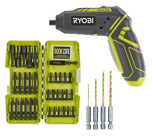 (Ryobi HP44L QuickTurn 4-Volt Lithium-Ion 1/4 in. Cordless Screwdriver with Steel Driving Bit Kit (34 Piece) and Hex Shank Pilot Titanium Drill Bit Set (4-Piece) (Bundle))