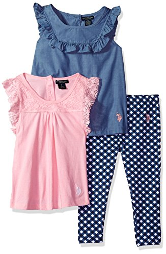 U.S. Polo Assn. Little Girls' Knit Fashion Top and Pant Set, Ruffle Tops Check Legging Prism Pink, 5 - Knit Ruffle Pants