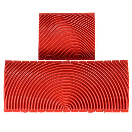 2pcs Large & Small Wood Graining Tool DIY Wall Floor Painting Effects Wood Grain Rubber for Home Decoration Hand Tool