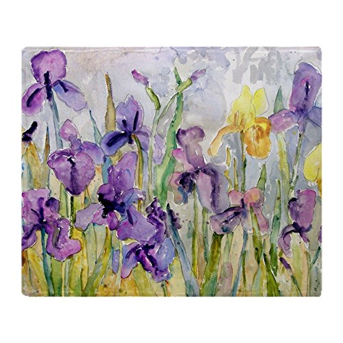 (CafePress Purple and Yellow Iris Romantic Ruff Soft Fleece Throw Blanket, 50
