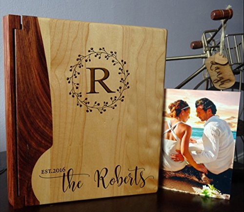 - Personalized Wood Cover Photo Album, Custom Engraved Family Monogram Wedding Album, Style 176 (Maple & Rosewood Cover)