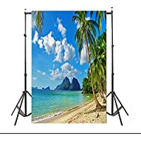 5x7ft Lfeey Vinyl Thin Backdrop,Blue Sky and Ocean Beach Coconut Trees Scene Photography Background for Photo Studio Props