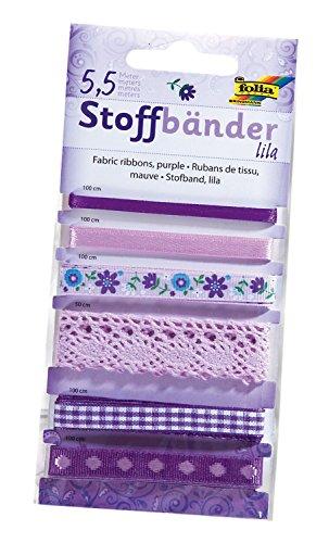Folia 12204 - Stoffbänder, 6 Stück, lila