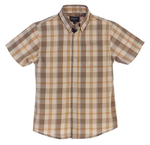 Gioberti Little Boys Plaid Short Sleeve Shirt, Olive/Khaki, Size 5