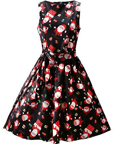 OUGES Women's Fit and Flare Cocktail Dress(Black Santa,L) (Santa Dresses Cute)