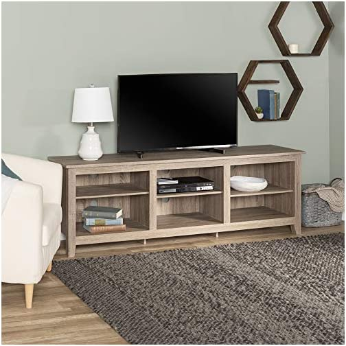 Walker Edison Wood 70″ Console | Flat-panel TV's up to 70″ | 6 Storage Shelves | Driftwood