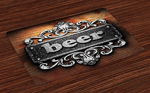 Lunarable Manly Place Mats Set of 4, Silver Word on Ornament Beer Text Wood Print Ancient Interior Rustic Art, Washable Fabric Placemats for Dining Room Kitchen Table Decor, Grey Pale Brown