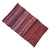 "Indian Chindi Cotton Rag Rug Recycled Throw Hand Woven Mat Floor Runner Dari 68"" X 41"" Inches"