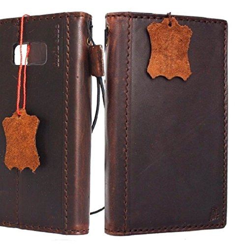 Genuine Leather Case for Samsung Galaxy S8 Book Wallet Luxury Cover S Hand made Retro Id cards slots s 8 Vintage Art brown daviscase