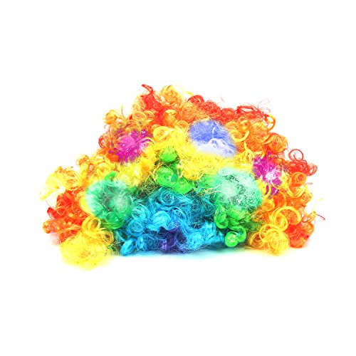 [LED Wigs, DAXIN DX Light up Afro Wigs Hair Rainbow Clown Curly Costume Wigs Hair Toys for Women Men Kids (Multicolor)] (Women's Clown Wig)