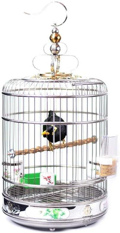 C-Xka Jaula de Acero Inoxidable Starling Peony Tiger Parrot Thrush Jaula de pájaros Jaula de Metal Grande Jaula de Paloma Redonda Jaula de pájaros Universal Jaula Redonda de Acero Inoxidable