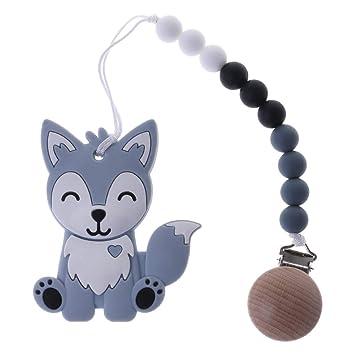 cd9c1c896155 Amazon.com   TeemorShop 1 Set Pacifier Clip with Cartoon Fox Teether Baby  Nipple Chain Newborn Teething Chew Tool Cute Safe Silicone Wood Beads  (Grey)   ...