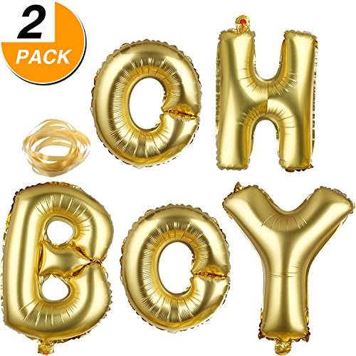 BBTO 2 Pack Oh and Boy Balloons Banners Alphabet Foil Letter Balloon Decoration with Gold Rope for Baby Shower Birthday Party Gender Reveal Party - Boy Letter Banner