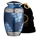 Cremation Urn for Ashes, for Adults up to 200lbs, Blue Funeral Burial Urns w/Satin Bag for Human Ashes.