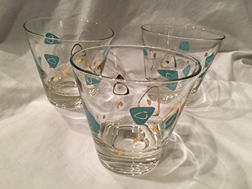 Mid Century/Vintage Set of Three Federal Glass Atomic Amoeba/Boomerang Cocktail Glasses (3.5