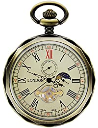 Mechanical Pocket Watches Bronze Roman Numerals Open Face with Chain Men 24-Hour Moon Sun + Gift Box