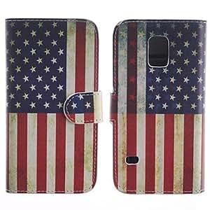 GX The American Flag Design de la PU de cuerpo completo Funda protectora con soporte para Samsung S5 Mini G800