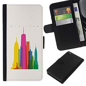 Be-Star la tarjeta de Crédito Slots PU Funda de cuero Monedero caso cubierta de piel HTC DESIRE 816 ( City Colorful Art Skyscrapers Poly Art )