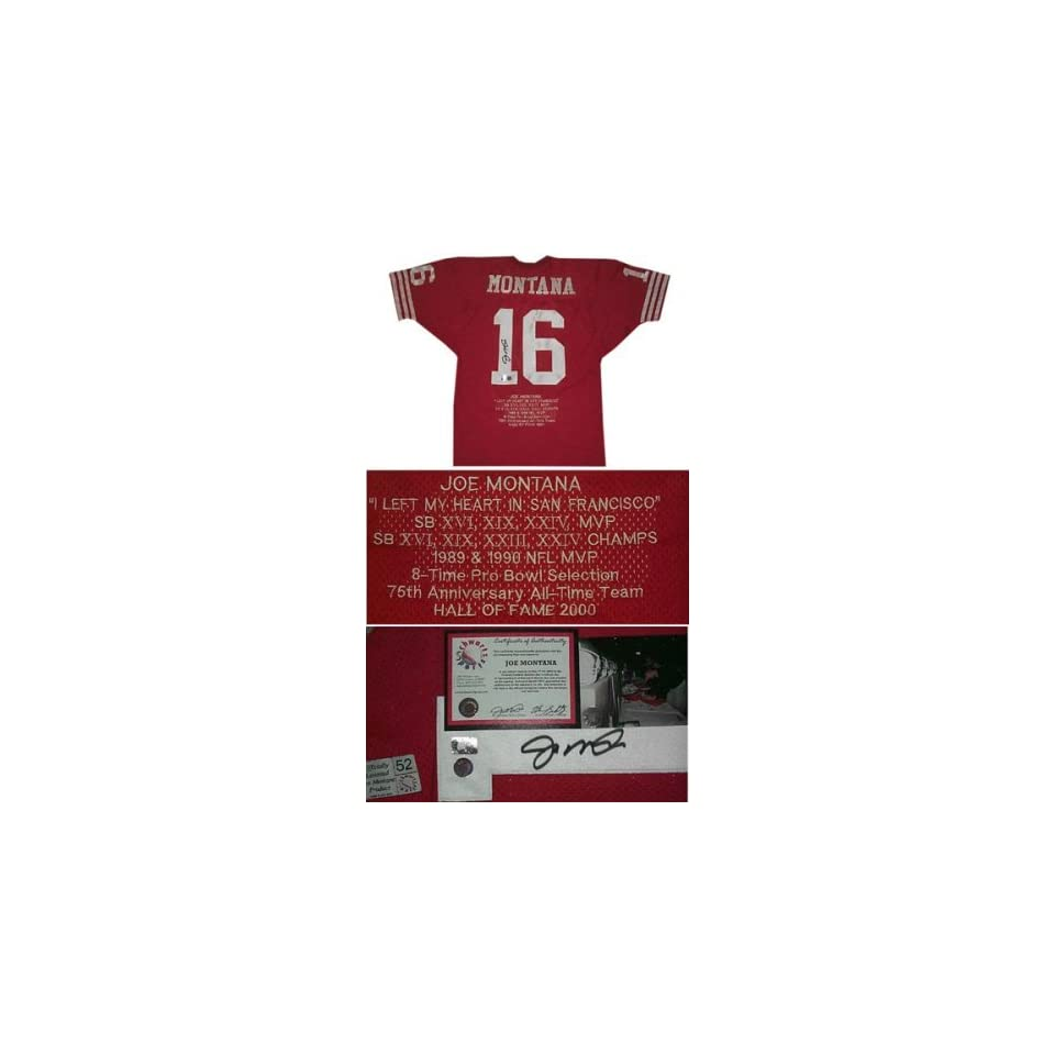 Joe Montana Autographed Embroidered Custom Stat Red Jersey