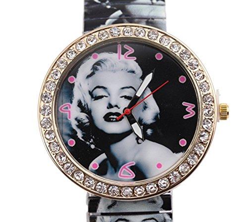 Reloj Profesional® 2015 Nueva moda mujer Marilyn Monroe patrón primavera de metal de estilo banda reloj de pulsera: Amazon.es: Relojes