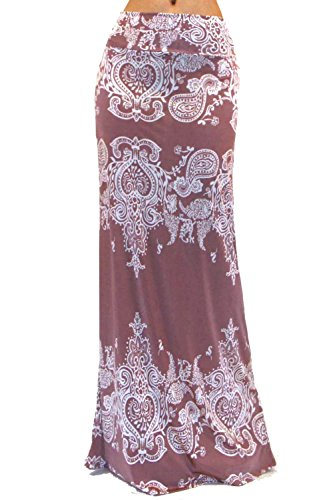 Vivicastle Women's Colorful Printed Fold Over Waist Long Maxi Skirt (Small, ASH1)