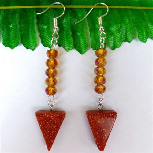 TryMarket(TM) 1Pair Natural Brown Gold Sand Stone Triangle Pendant Earrings Length:75mm HH5287 - 75mm Earrings