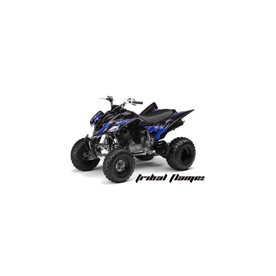 AMR Racing Yamaha Raptor 350 ATV Quad Graphic Kit   Tribal Flames Black, Blue