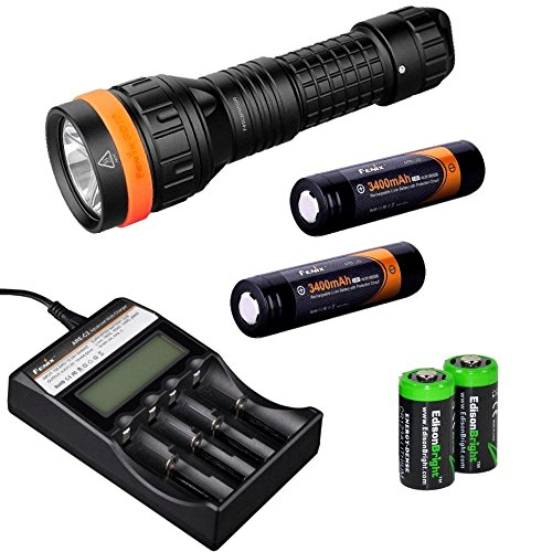 Fenix SD10 930 Lumen CREE XM-L2 T6 100m waterproof neutral LED Diving Flashlight, Fenix ARE-C2 four bays Li-ion/ Ni-MH advanced universal smart battery charger, Two Fenix 18650 ARB-L2S 3400mAh rechargeable batteries with Two EdisonBright CR123A Lithium Ba by Fenix