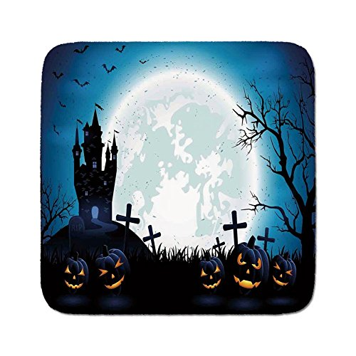 Cozy Seat Protector Pads Cushion Area Rug,Halloween Decorations,Spooky Concept with Scary Icons Old Celtic Harvest Figures in Dark Image,Blue,Easy to Use on Any Surface -