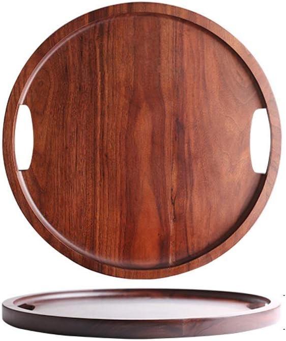 RUI JIAN ブラックウォールナットトレイ、ホームダイニングトレイデザートプレート、長方形ラウンド形状、手作りトレイ(サイズ:B) (Size : C)