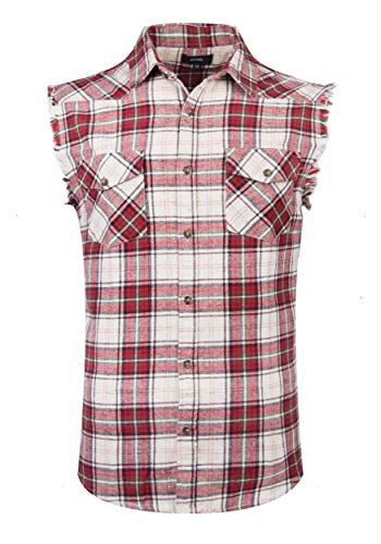 Red Neck Costume (NUTEXROL Men's Casual Flannel Plaid Shirt Sleeveless Cotton Plus Size Vest Red and Beige)