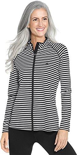 Coolibar UPF 50+ Women's Long Sleeve Water Jacket - Sun Protective (X-Large- White/Black Stripe)